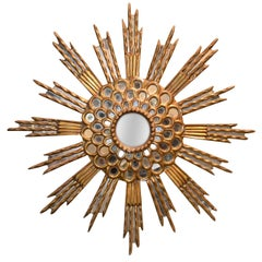 Hollywood Regency Sunburst Mirror, circa 1940
