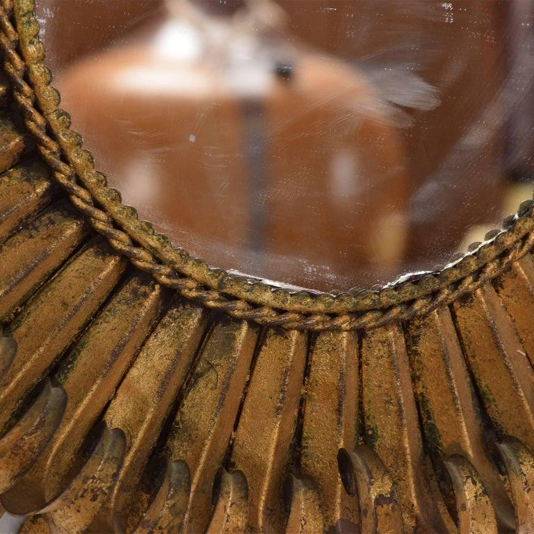 Late 20th Century Hollywood Regency Sunburst Mirror Wrought Iron Brutalist Era For Sale