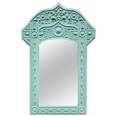 Hollywood Regency Syrian Style Sky Blue Mirror, by G. Edwards