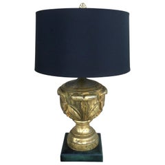 Hollywood Regency Table Lamp in Gold Leaf with Black Shade
