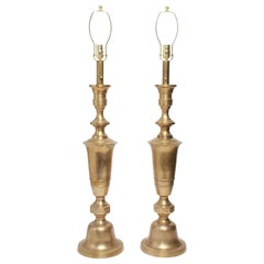 Hollywood Regency Tall Brass Urn Table Lamps