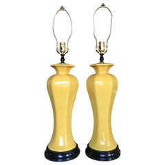 Hollywood Regency Tall Yellow Ceramic Glazed Table Lamps, Pair