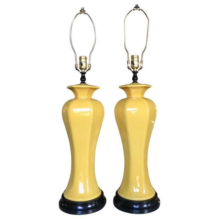 Hollywood Regency Tall Yellow Ceramic Glazed Table Lamps, Pair For Sale