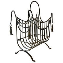 Hollywood Regency Tassle Magazine Rack