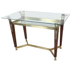 Hollywood Regency Teak, Brass and Glass Console Table or Desk