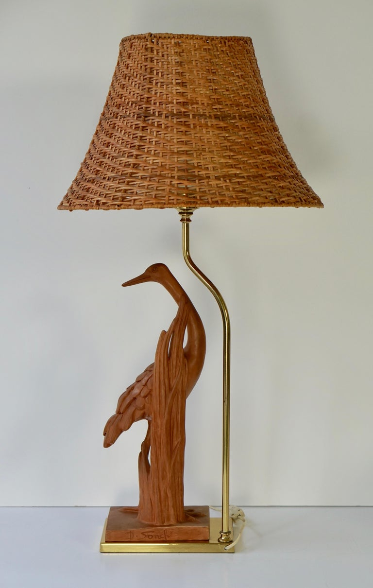 European Hollywood Regency Terracotta and Brass Heron Table Lamp, Signed For Sale