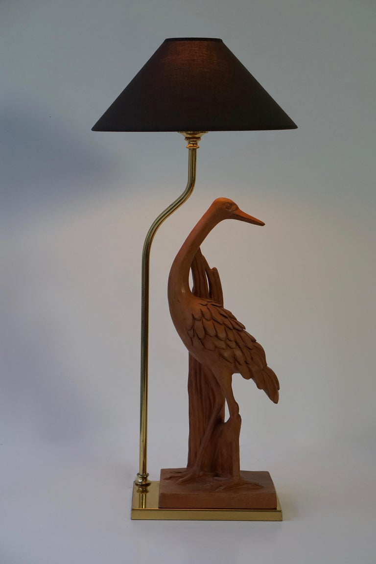20th Century Hollywood Regency Terracotta and Brass Heron Table Lamp, Signed For Sale