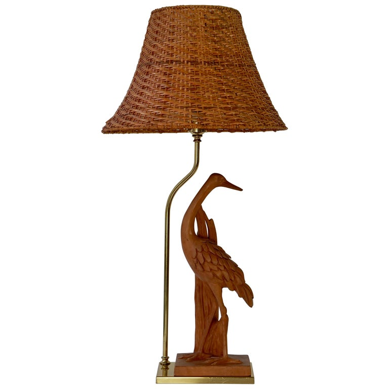 Hollywood Regency Terracotta and Brass Heron Table Lamp, Signed For Sale
