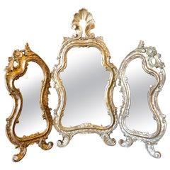Hollywood Regency Three Fold Table Mirror in Gold Leaf