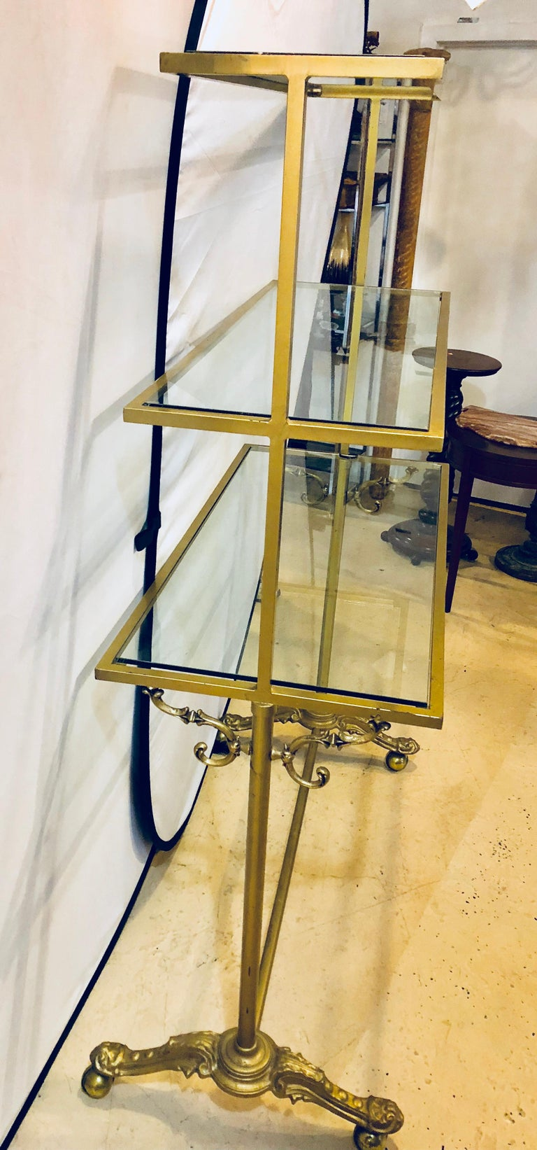 Hollywood Regency Three-Tier Large Bakers Rack Gilt Metal and Glass Shelves For Sale 2