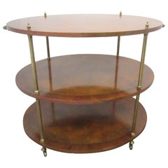 Hollywood Regency Three-Tier Walnut Oval Wood Server with Brass Details