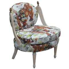 Hollywood Regency Tiger Jungle Slipper Lounge Chair with a Neutral Finish