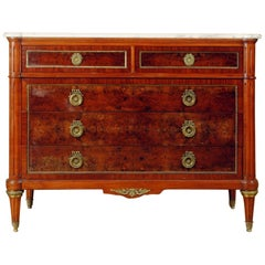 Hollywood Regency Tortoise Shell Finish Marble Top Commode