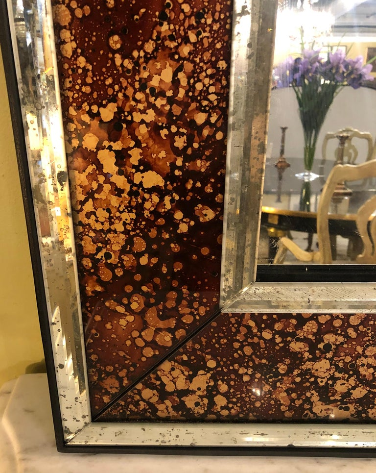 Hollywood Regency Tortoise Shell Wall, Console over the Mantle Mirrors, a Pair For Sale 7