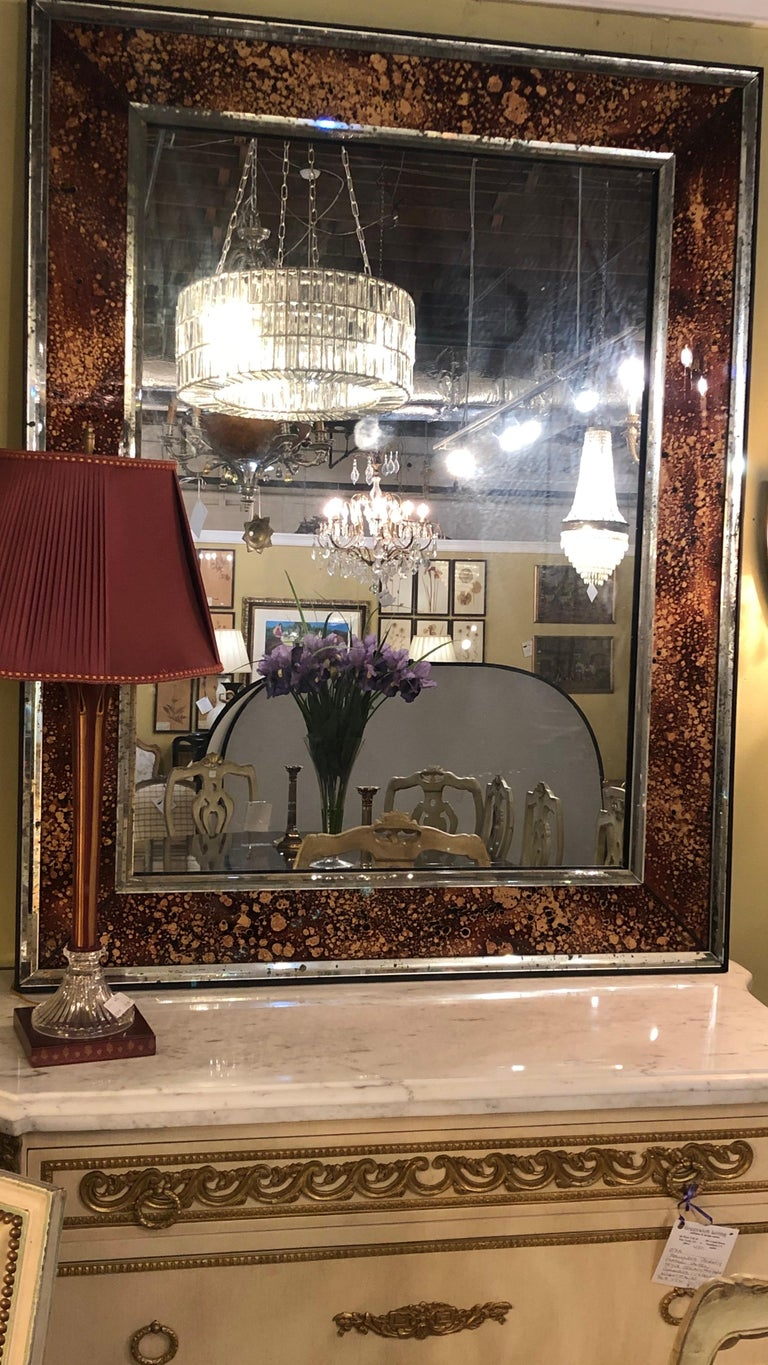 Hollywood Regency Tortoise Shell Wall, Console over the Mantle Mirrors, a Pair For Sale 8