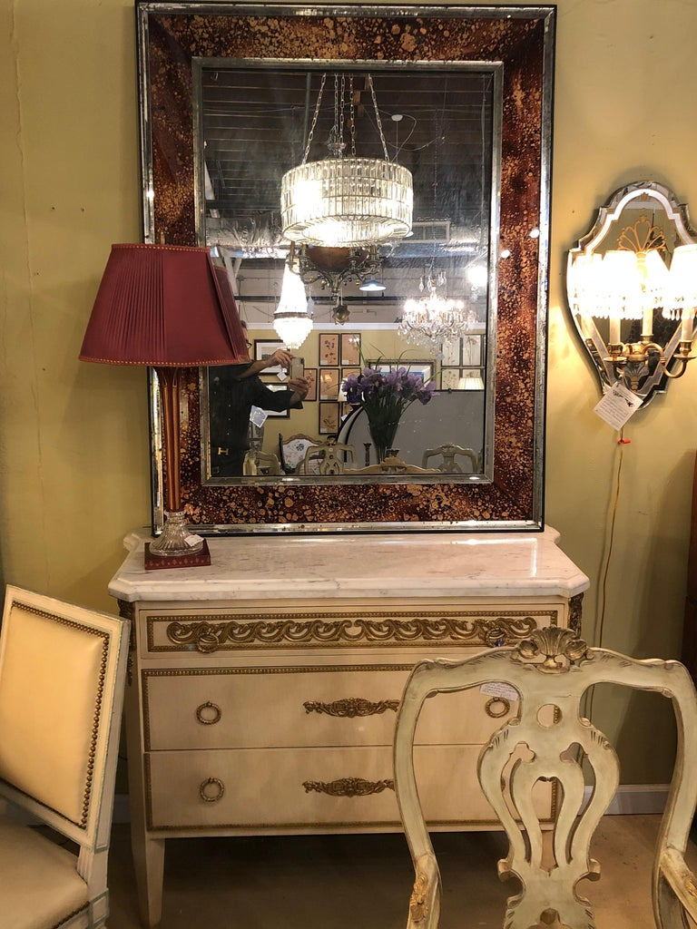 Hollywood Regency Tortoise Shell Wall, Console over the Mantle Mirrors, a Pair For Sale 9