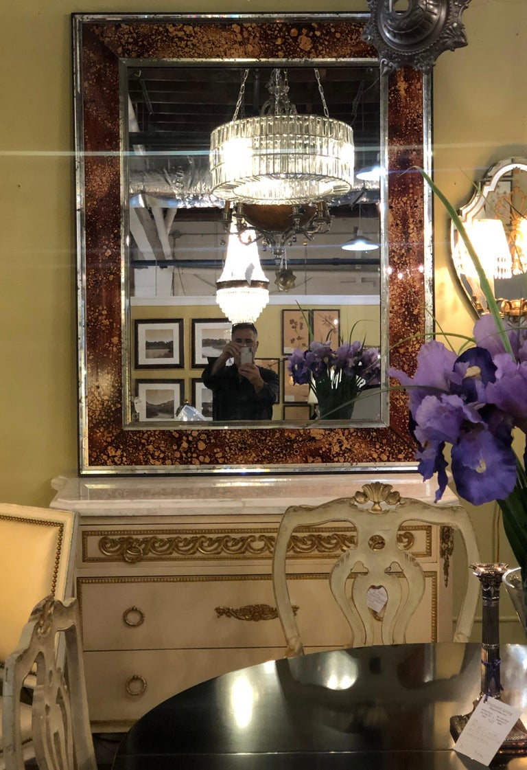 Hollywood Regency Tortoise Shell Wall, Console over the Mantle Mirrors, a Pair In Good Condition For Sale In Stamford, CT