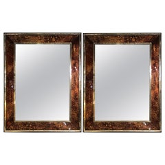 Hollywood Regency Tortoise Shell Wall, Console over the Mantle Mirrors, a Pair