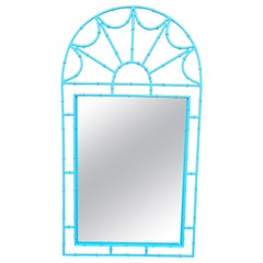Hollywood Regency Turquoise Faux Bamboo Wrought Iron Mirror