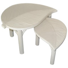 Hollywood Regency Two Decorative Leaf Shaped Bamboo and Pencil Reed Side Tables