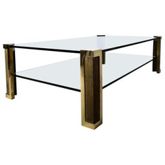 Hollywood Regency Two-Tier Glass and Brass Coffee Table