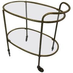 Hollywood Regency Two-Tiered Oval Braided Brass Bar Cart Trolley
