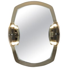 Hollywood Regency Two-Toned Mirror with Lights by Max Ingrand for Fontana Arte