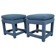 Hollywood Regency Upholstered Footstools, a Pair