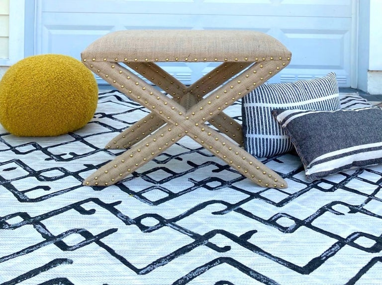 Hollywood Regency Upholstered X-Bench in Natural Jute Burlap with Brass Studs For Sale 5