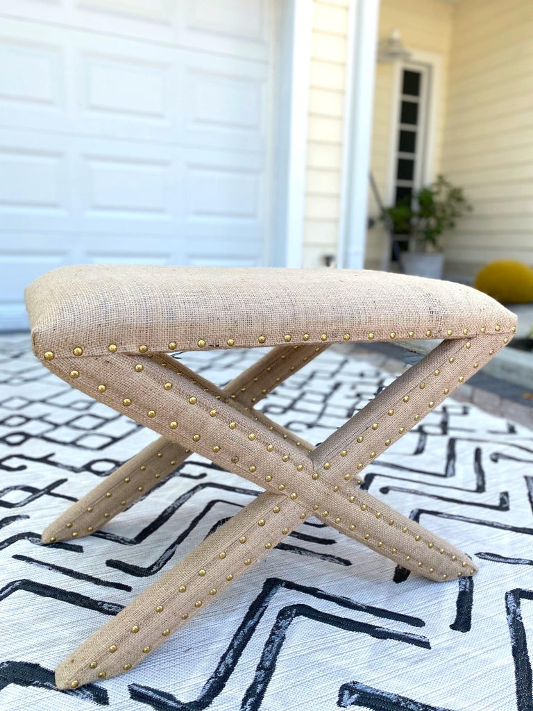 Hollywood Regency Upholstered X-Bench in Natural Jute Burlap with Brass Studs For Sale 6