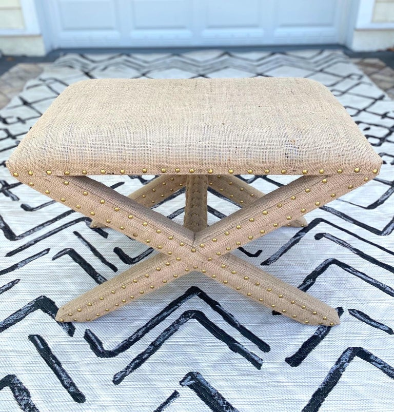 American Hollywood Regency Upholstered X-Bench in Natural Jute Burlap with Brass Studs For Sale