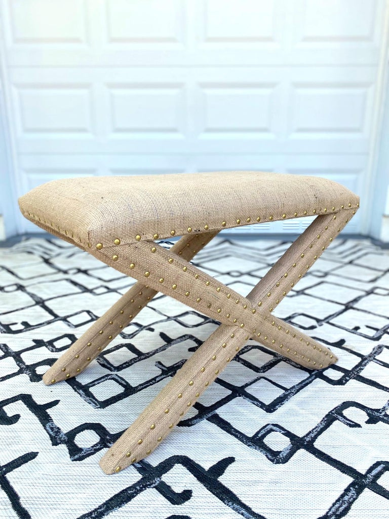 Hand-Woven Hollywood Regency Upholstered X-Bench in Natural Jute Burlap with Brass Studs For Sale
