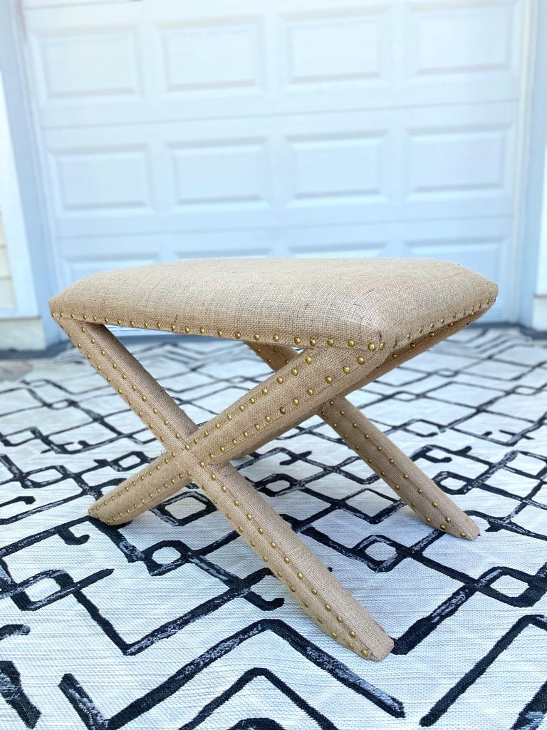 Hollywood Regency Upholstered X-Bench in Natural Jute Burlap with Brass Studs In Excellent Condition For Sale In Fort Lauderdale, FL
