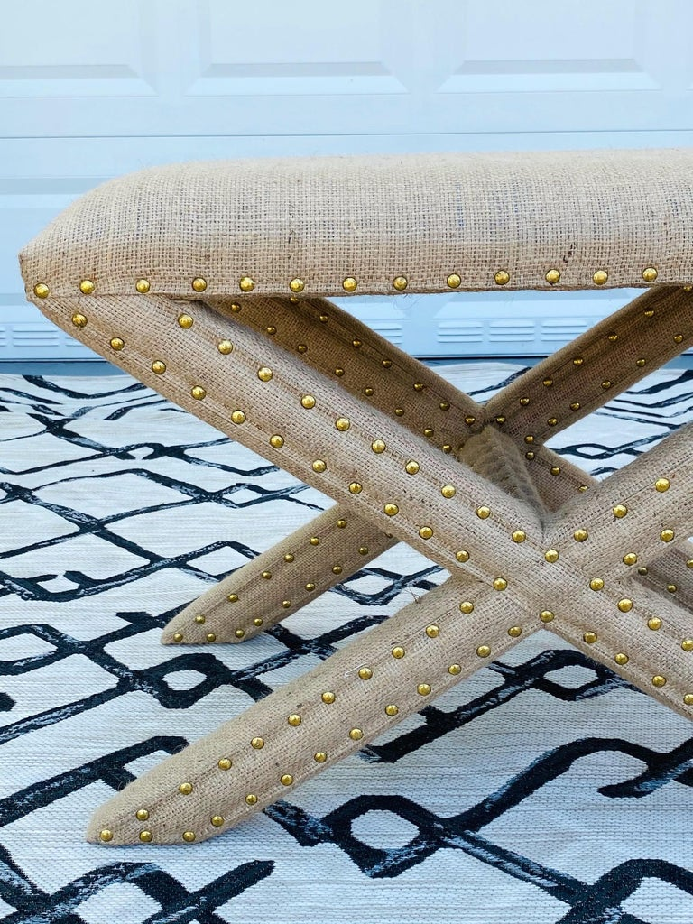 Contemporary Hollywood Regency Upholstered X-Bench in Natural Jute Burlap with Brass Studs For Sale