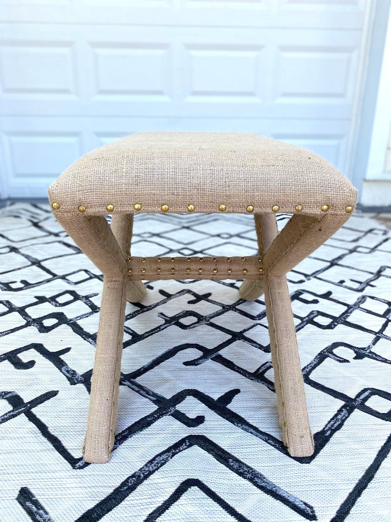 Hollywood Regency Upholstered X-Bench in Natural Jute Burlap with Brass Studs For Sale 1