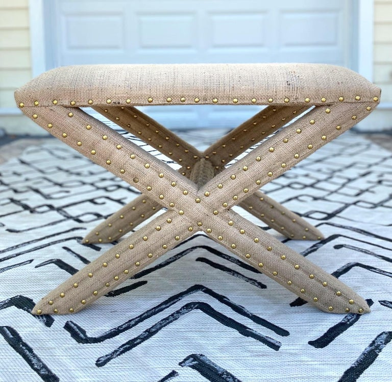 Hollywood Regency Upholstered X-Bench in Natural Jute Burlap with Brass Studs For Sale 3