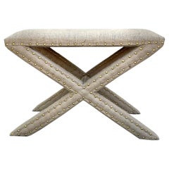 Hollywood Regency Upholstered X-Bench in Natural Jute Burlap with Brass Studs