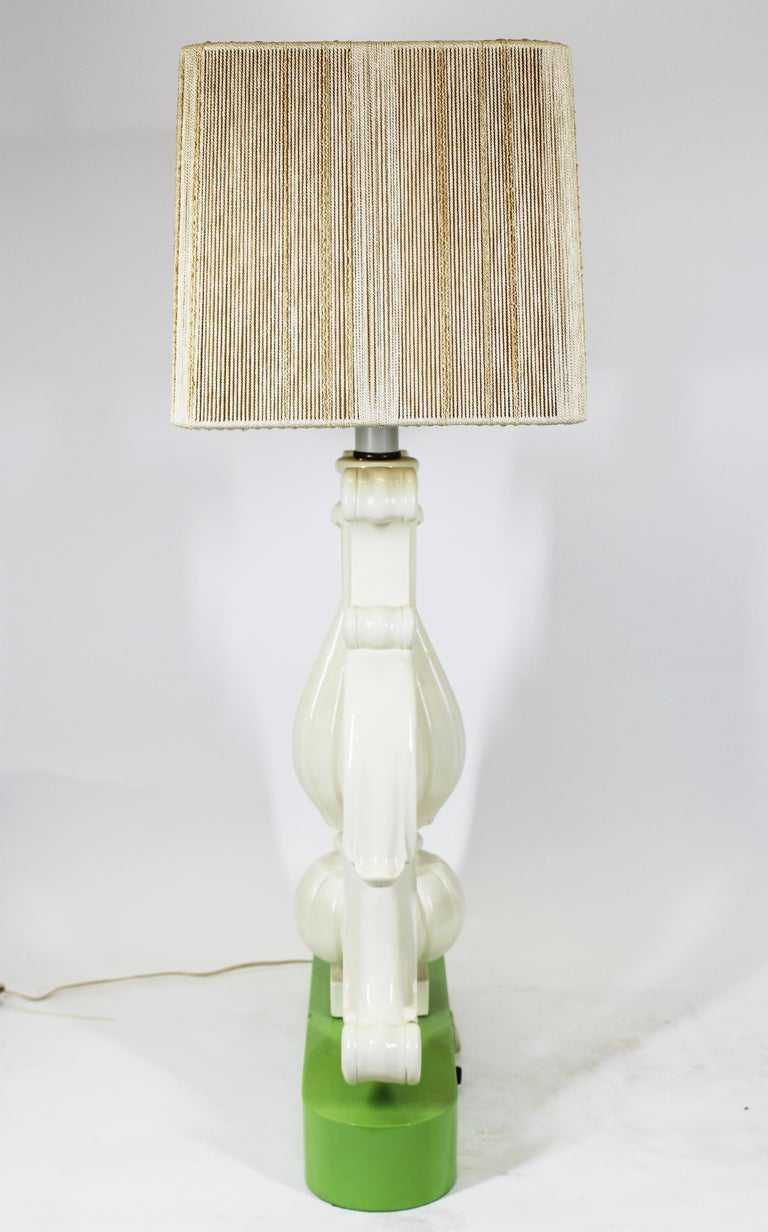 Fabric Hollywood Regency Vase Shaped Table Lamp in Lacquered Wood For Sale