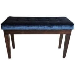 Hollywood Regency Velvet Tufted Piano Storage Bench
