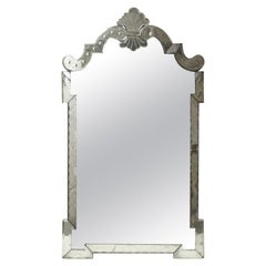 Hollywood Regency Venetian Etched Glass Wall Mirror
