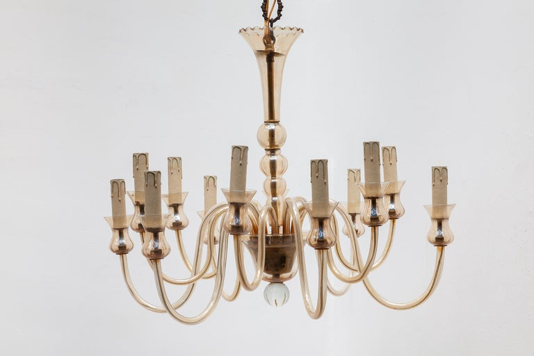 Hand-Crafted Hollywood Regency Venetian Glass Chandelier, Twelve Arms of Light For Sale