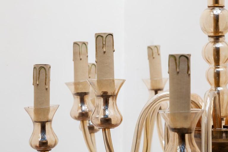Mid-20th Century Hollywood Regency Venetian Glass Chandelier, Twelve Arms of Light For Sale