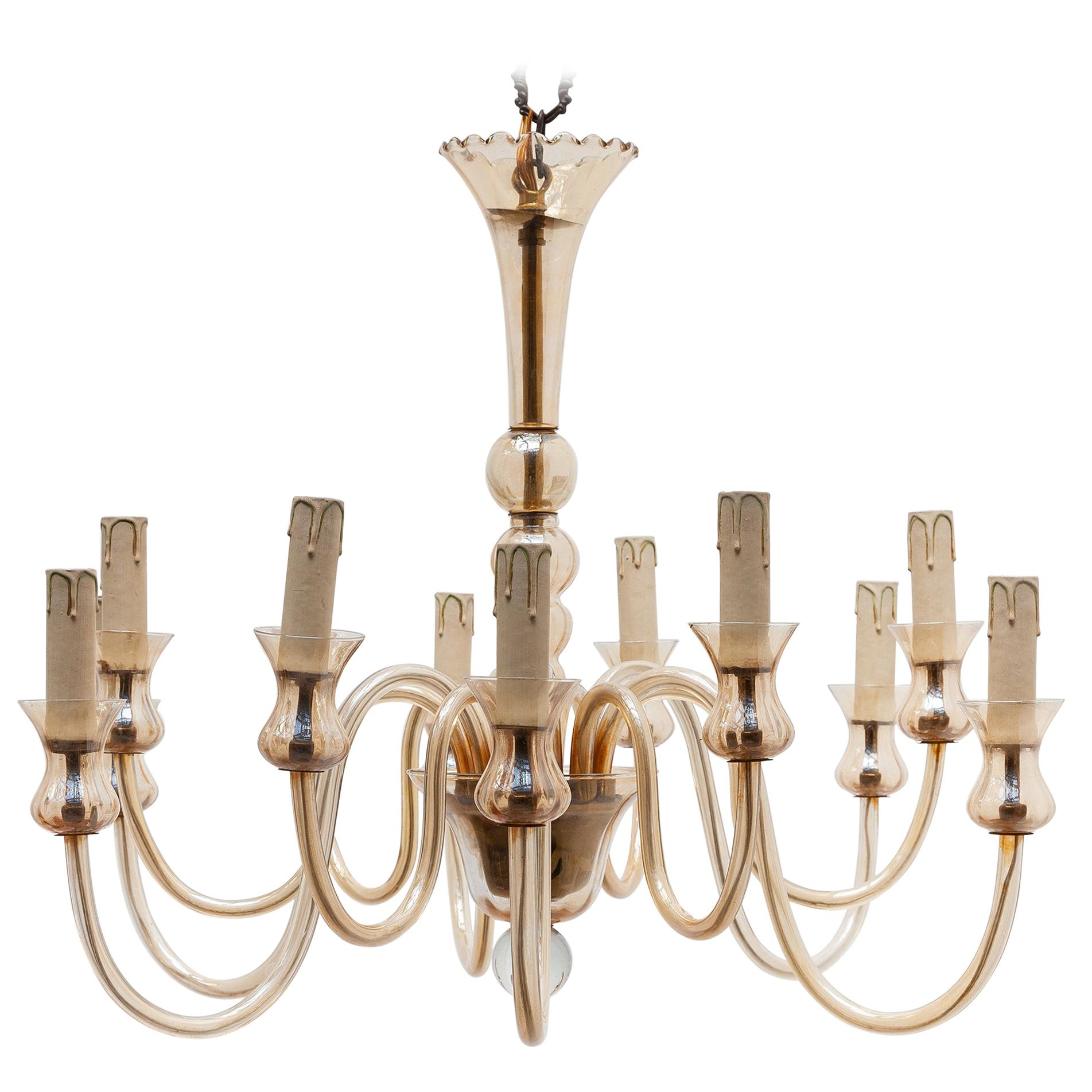 Hollywood Regency Venetian Glass Chandelier, Twelve Arms of Light