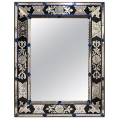 Hollywood Regency Venetian Mirror in Blue, Clear and Black Murano Glass