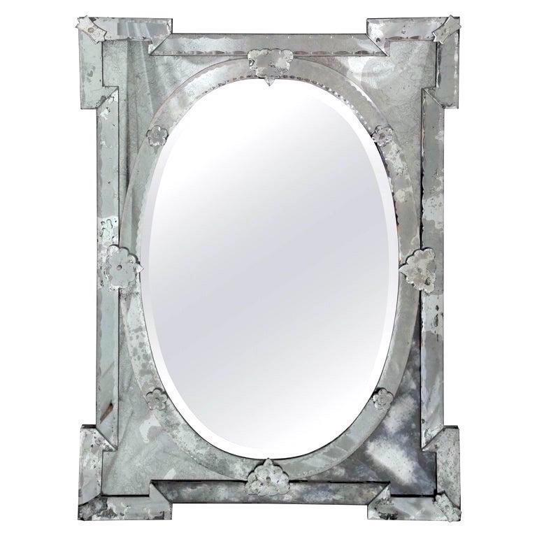 Hollywood Regency Venetian Mirror with Elegant Shield Design, 1940s For Sale 5