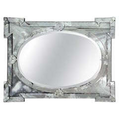 Hollywood Regency Venetian Mirror with Elegant Shield Design, 1940s