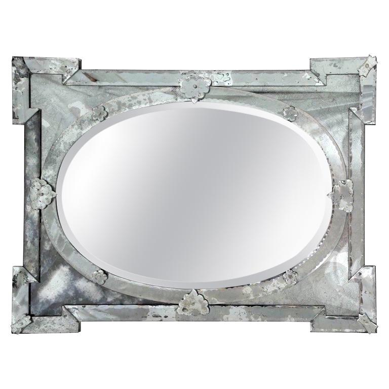 Hollywood Regency Venetian Mirror with Elegant Shield Design, 1940s For Sale