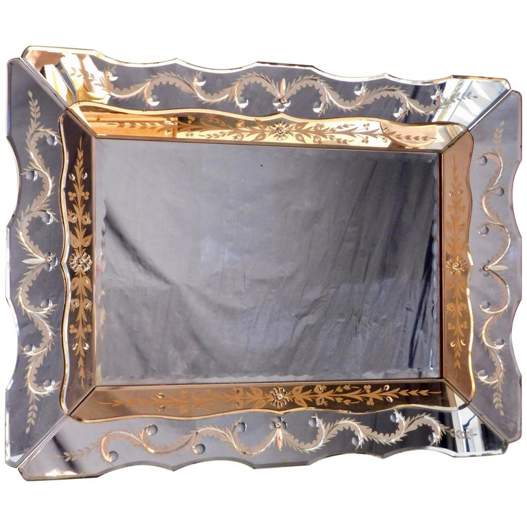 Hollywood Regency Venetian Mirror with Peach Colored Interior Edge, circa 1940 For Sale