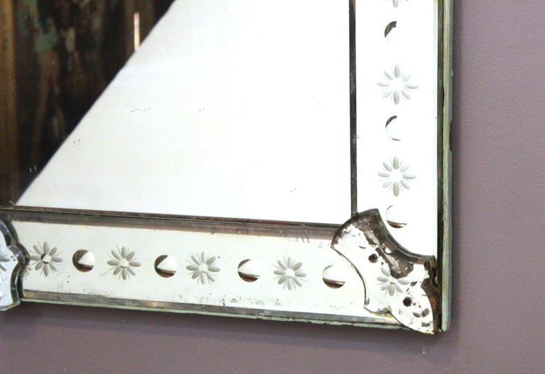 Italian Hollywood Regency Venetian Mirrors with Etched Borders For Sale