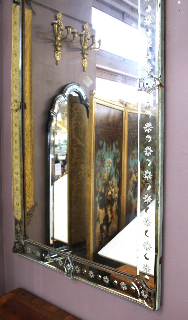 Hollywood Regency Venetian Mirrors with Etched Borders For Sale 4